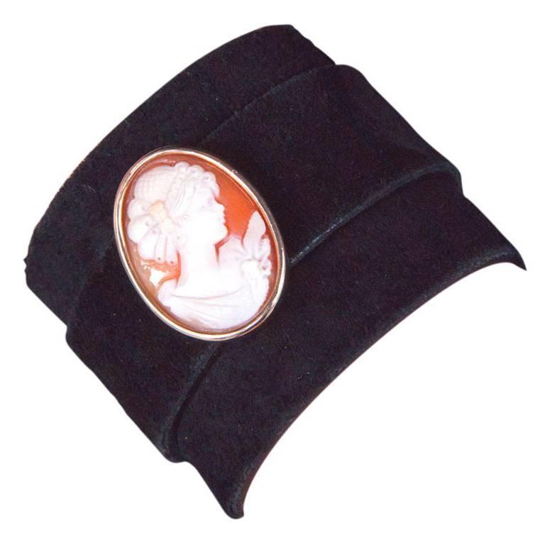 Cameo Leather Cuff Bracelet