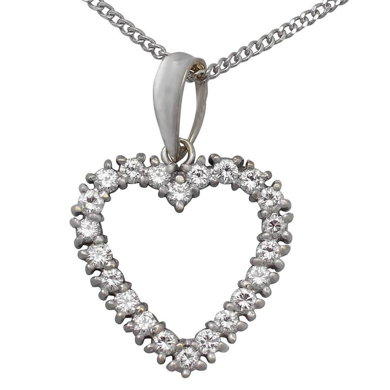 120ct diamond and 18k white gold heart pendant vintage european 120ct diamond 18k white gold heart pendant vintage european circa 1960 for sale aloadofball Images