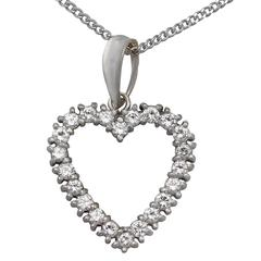 1.20Ct Diamond & 18k White Gold Heart Pendant - Vintage European Circa 1960