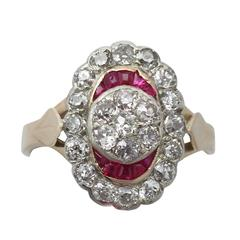 1890s Ruby and 1.32 Carat Diamond Yellow Gold Cocktail Ring