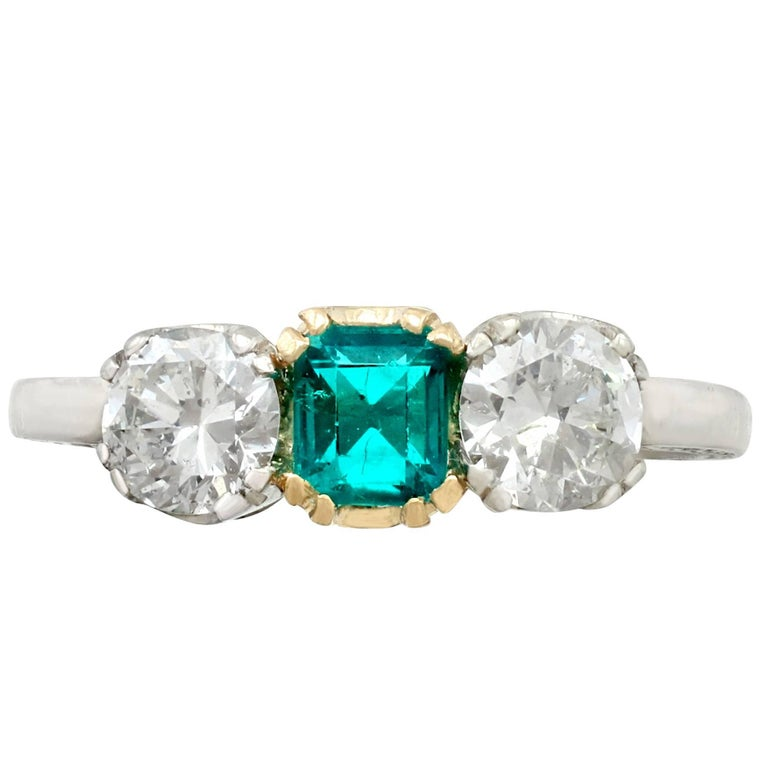 Antique  1930s Emerald and Diamond White Gold Trilogy Ring