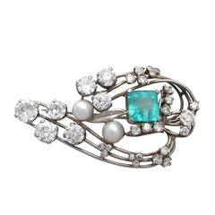 3.19Ct Emerald, 4.38Ct Diamond & Pearl, 18k White Gold Brooch - Antique