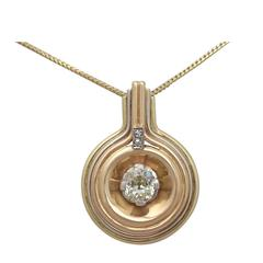 1.72Ct Diamond, 18k Tri-Gold Pendant - Art Deco - Antique Circa 1900 & Vintage