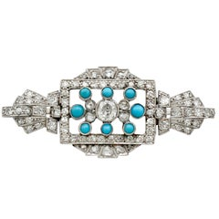 1.71 Carat Diamond Turquoise and White Gold Brooch