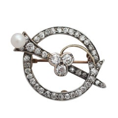 1.92Ct Diamond and Pearl 9k Yellow Gold Brooch - Antique Circa 1890