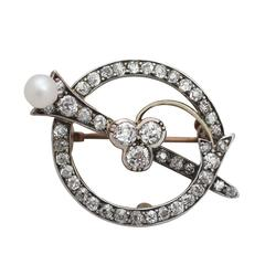 1.92Ct Diamond and Pearl, 9k Yellow Gold Brooch - Antique Circa 1890