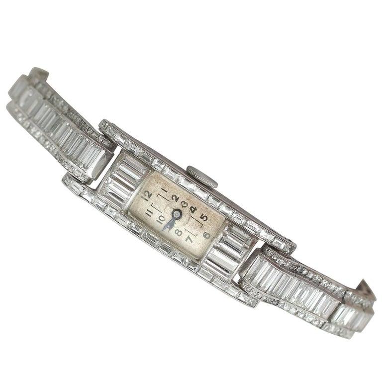 Vintage 4.33 Carat Diamond Cocktail Watch in Platinum