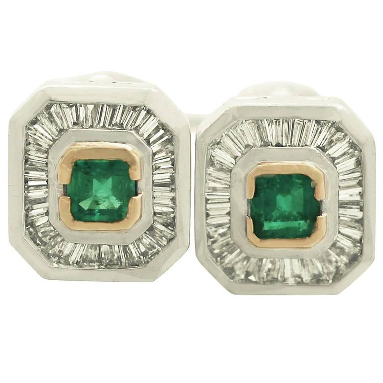 1980s Emerald Diamond Gold Platinum Earrings