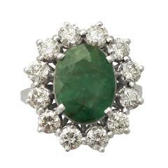 4.82 Carat Emerald & 3.12 Carat Diamond White Gold Cluster Ring