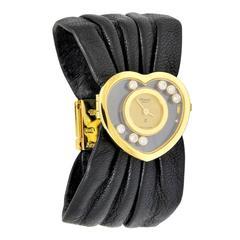 Chopard Lady's Yellow Gold Heart-Shaped Happy Diamond Wristwatch