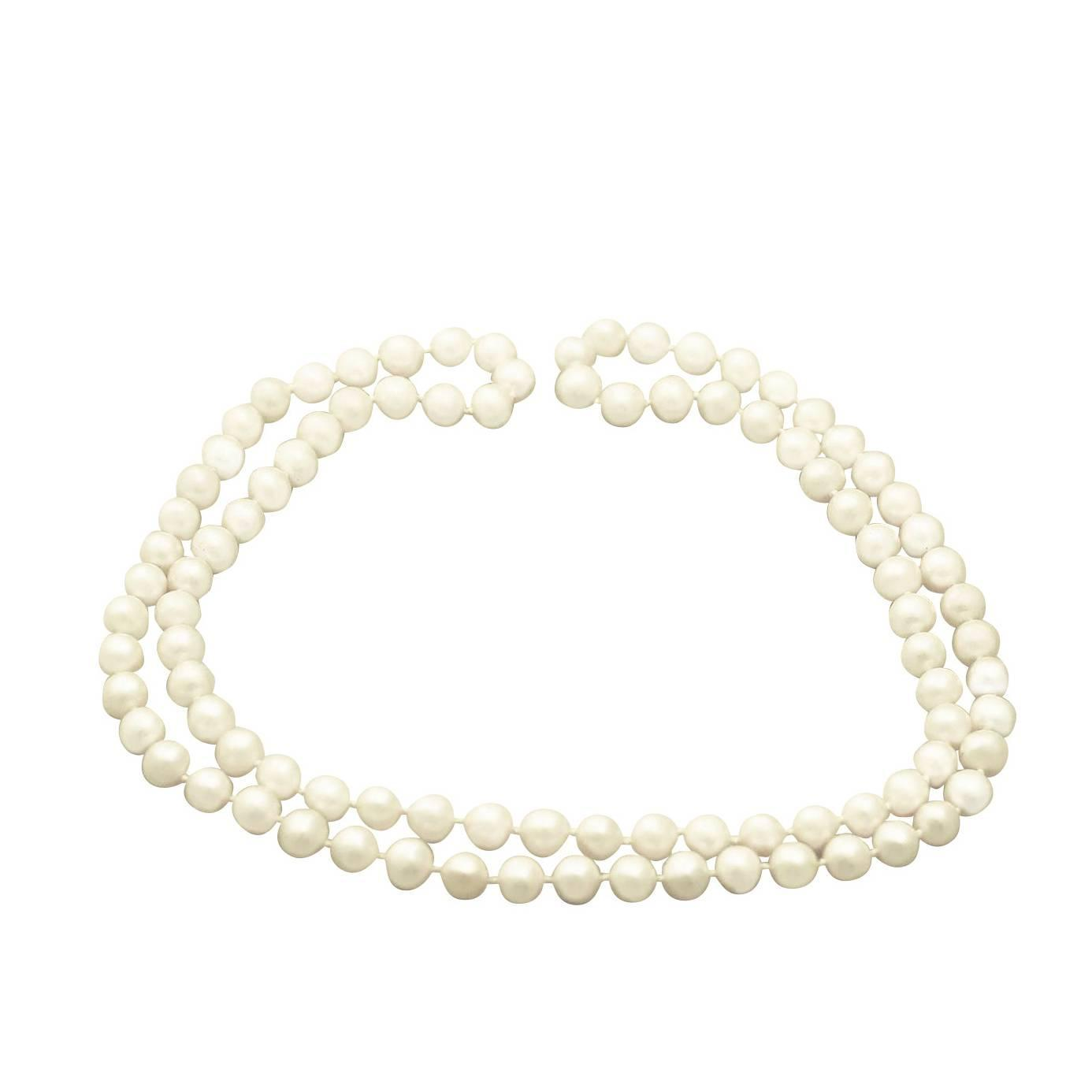 Single Strand Pearl Necklace: Vintage Circa 1960 At 1stdibs