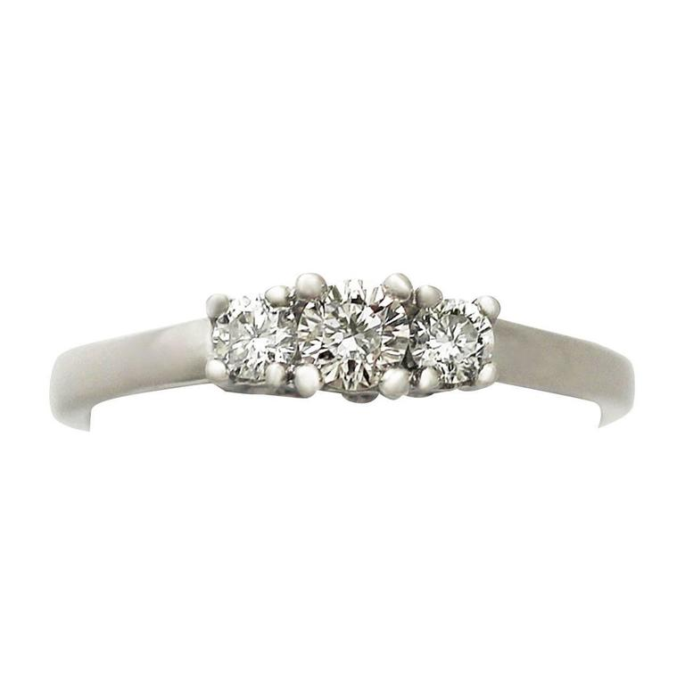 0.33Ct Diamond and 18k White Gold Trilogy Ring - Contemporary Circa 2000