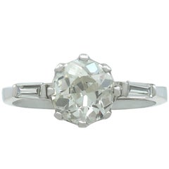 1900s 1.95 Carat Diamond and Contemporary White Gold Solitaire Ring