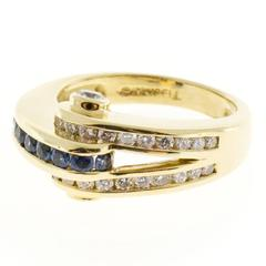 Charles Krypell Blue Sapphire Diamond Gold Curved Ring