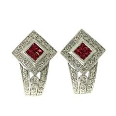 Ruby and 1.20 ct Diamond, 18 ct White Gold Earrings