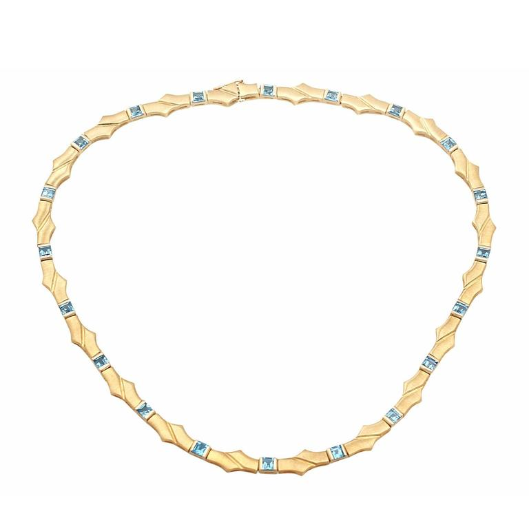 Topaz and 9k Yellow Gold Necklace - Vintage Circa 1960