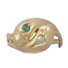 1919 Antique Emerald and Diamond Yellow Gold Snake Cocktail Ring