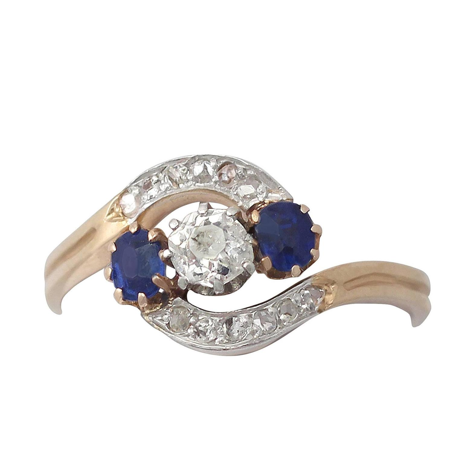0 37ct and 0 35ct sapphire 15k yellow gold dress