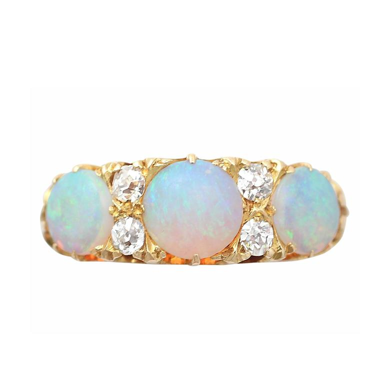 Antique Victorian Opal 0.20 Carat Diamond Gold Dress Ring For Sale