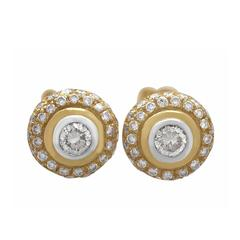 0.88Ct Diamond and 18k Yellow Gold Cluster Earrings - Vintage Circa 1960