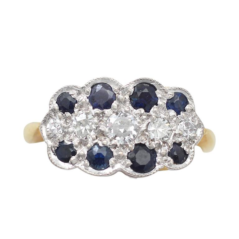 1910s Antique Sapphire and Diamond Yellow Gold Cocktail Ring