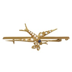 Sapphire, Diamond and Seed Pearl, 15k Yellow Gold 'Swallow' Bar Brooch