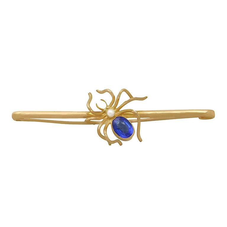 Pearl & Blue Coloured Glass, 9k Yellow Gold 'Spider' Brooch - Antique Circa 1890