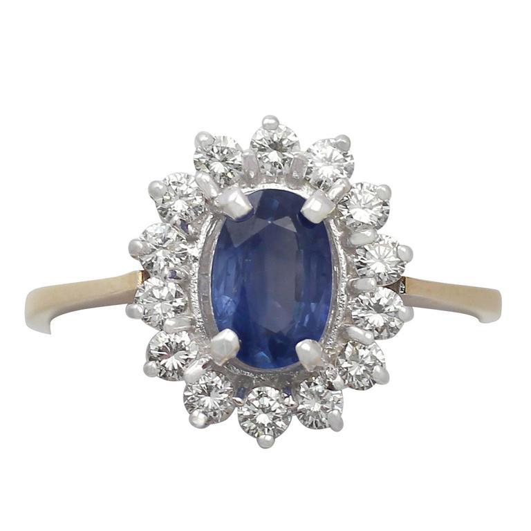 1.45 Carat Sapphire & Diamond Yellow Gold Cluster Ring