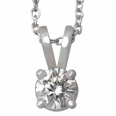 0.27Ct Diamond and Platinum Solitaire Pendant - Contemporary Circa 2000