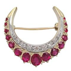 2.32Ct Ruby & 0.23Ct Diamond, 18k Yellow Gold Crescent Brooch - 1976