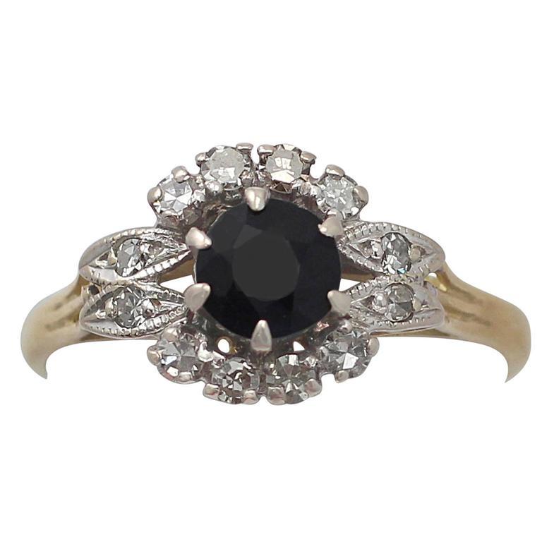 1968 Sapphire & Diamond Yellow Gold Cluster Ring