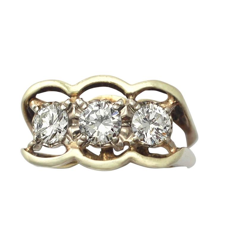 0.80Ct Diamond and 18k Yellow Gold Trilogy Ring - Vintage Circa 1990