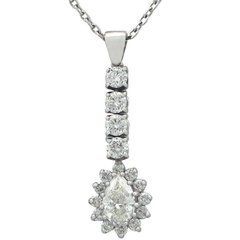 4.13 Carat Diamond and 18 Karat White Gold Pendant, Contemporary, circa 2000 For Sale