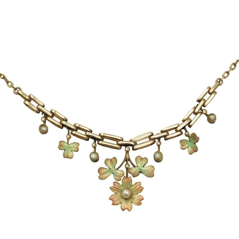 Pearl and Enamel 9k Yellow Gold Necklace - Antique Victorian