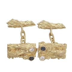 0.30Ct Diamond & 0.20Ct Sapphire, 18k Yellow Gold Cufflinks - Vintage Circa 1980