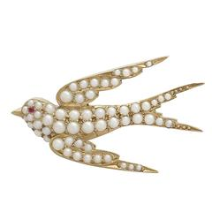 1890s Antique Pearl and Ruby Yellow Gold Swallow Brooch