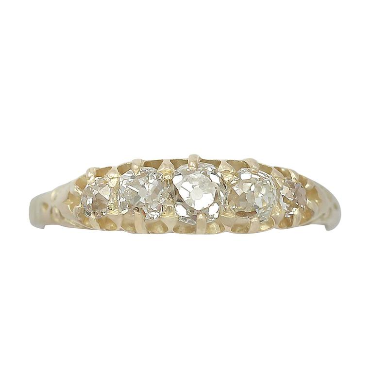 0.88Ct Diamond and 18k Yellow Gold Five Stone Ring - Antique Circa 1900