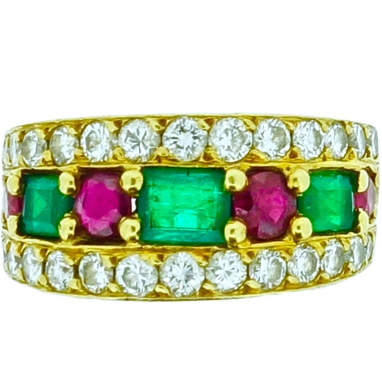 Van Cleef & Arpels Emerald Ruby Diamond Gold Band Ring For Sale