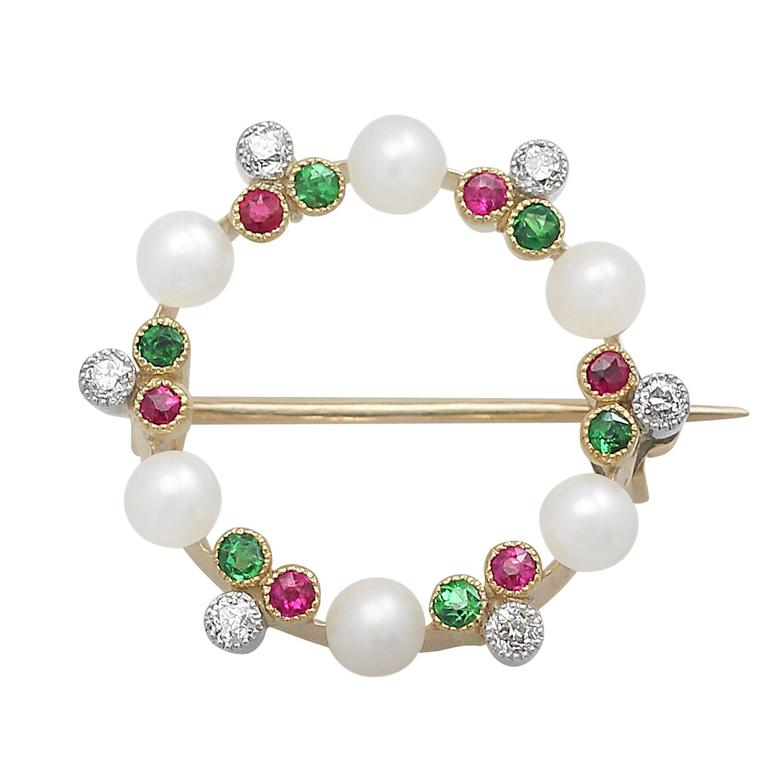 Pearl, 0.12Ct Diamond, Peridot & Ruby 9k Yellow Gold Brooch - Antique Circa 1910