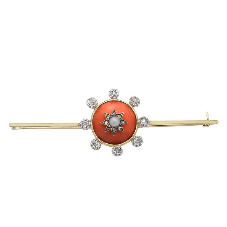 0.66 Carat Diamond, Coral and Pearl, 15 Karat Gold Bar Brooch, Antique Victorian