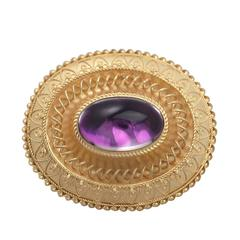 Paste Cabochon Foil and 15 Karat Yellow Gold Brooch, Antique Victorian