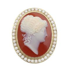 Cameo Brooch with Pearls, 15 Karat Yellow Gold, Antique Victorian