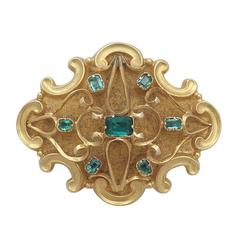 0.62Ct Emerald and 18k Yellow Gold Mourning Brooch - Antique Victorian
