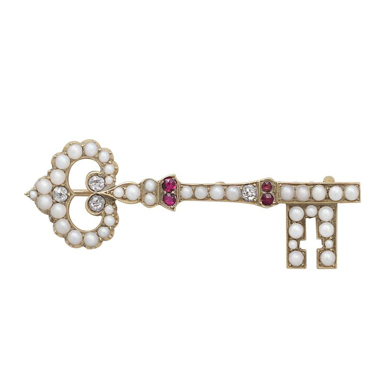 0.32Ct Diamond, Pearl and Ruby 18k Yellow Gold Key Brooch, Antique Victorian
