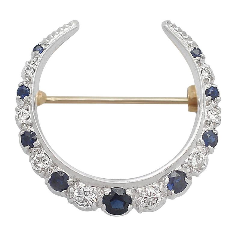 0.70Ct Sapphire and 0.52Ct Diamond, 15k Yellow Gold Crescent Brooch, Antique