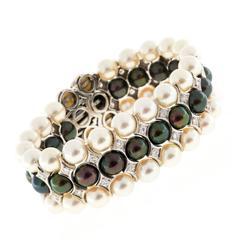 Three Row Akoya Black White Pearl Diamond Gold Bracelet