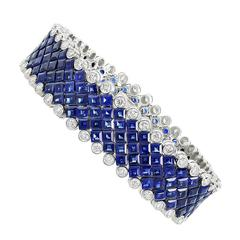 Aletto Brothers Sapphire Diamond Platinum Flexible Bracelet