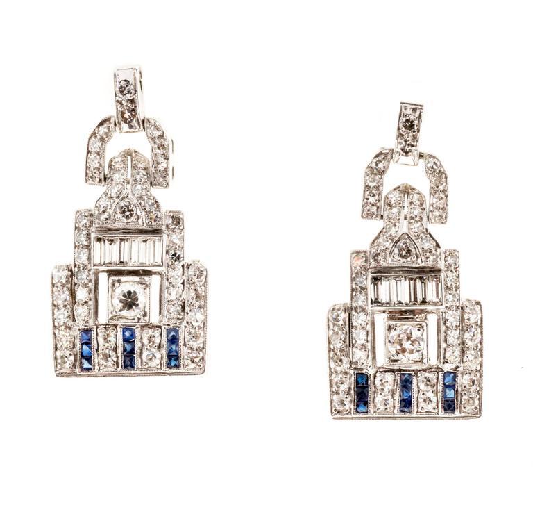 Diamond Calibre Blue Sapphire Platinum Dangle Earrings