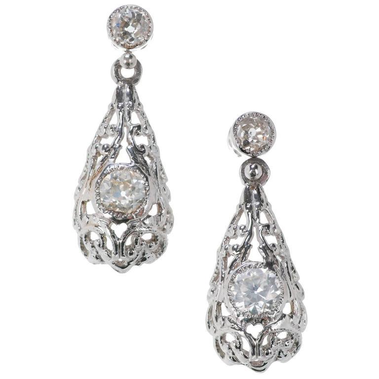 Old European Cut Diamond Tear Dangle Platinum Earrings