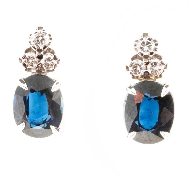 Blue Oval Sapphire Diamond Gold Earrings